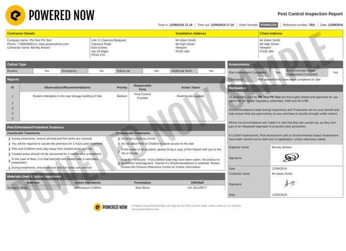 pest+control+inspection+report