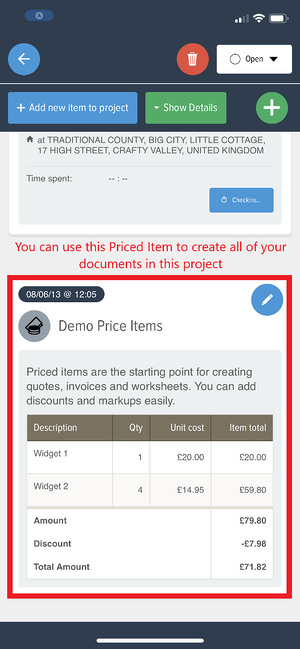 Powered Now, reusing priced items