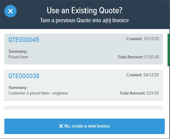 Powered Now, converting a quote to an invoice
