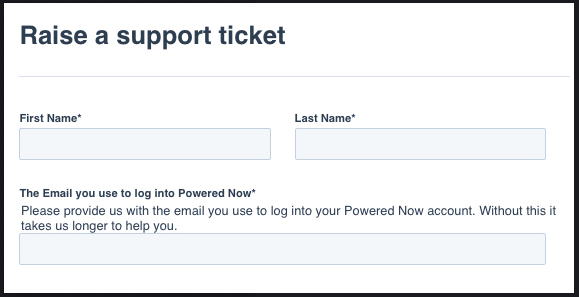 Powered Now, raising a support ticket